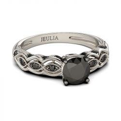 Jeulia Vintage Milgrain Round Cut Sterling Silver Ring