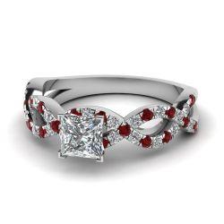 Jeulia Twist Princess Cut Sterling Silver Ring