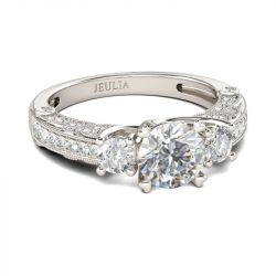 Jeulia Milgrain Three Stone Round Cut Sterling Silver Ring