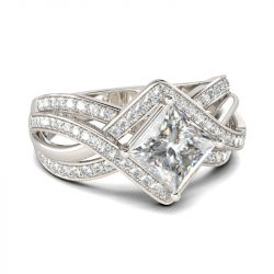 Jeulia Interwoven Princess Cut Sterling Silver Ring