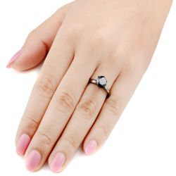 Solitaire Black Round Cut Sterling Silver Promise Ring