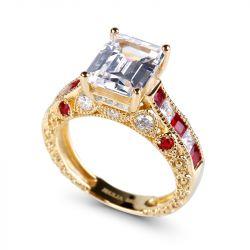 Jeulia Gold Tone Emerald Cut Sterling Silver Ring