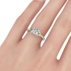 Two Tone Heart Design Princess Cut Sterling Silver Ring
