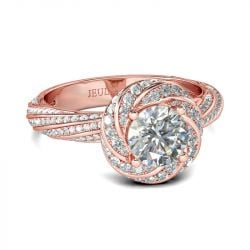 Rose Gold Tone Twist Round Cut Sterling Silver Ring