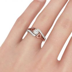 Bypass Heart Design Round Cut Sterling Silver Ring