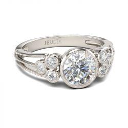 Jeulia Split Shank Milgrain Round Cut Sterling Silver Ring