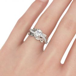 Leaf Round Cut Sterling Silver Ring