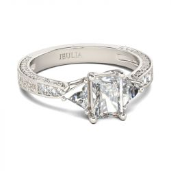 Jeulia Three Stone Radiant Cut Sterling Silver Ring