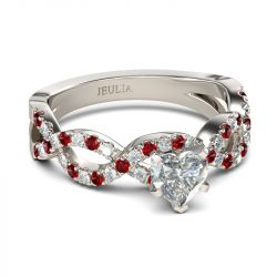 Jeulia Twist Heart Cut Sterling Silver Ring