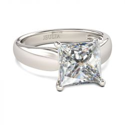 Solitaire Princess Cut Sterling Silver Ring