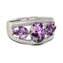 Leaf Shape Oval Cut Amethyst Engagement Ring