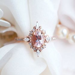 Oval Cut Vintage Synthetic Morganite Sterling Silver Ring