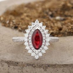 Double Halo Marquise Cut Sterling Silver Ring
