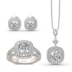 Jeulia Double Halo Cushion Cut Sterling Silver Jewelry Set