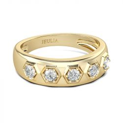 Jeulia Gold Tone Hexagon Round Cut Sterling Silver Men's Band