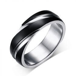 Jeulia Black Simple Titanium Steel Men's Band