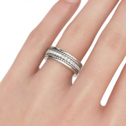 Rope Round Cut Sterling Silver Men's Band