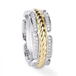 Jeulia Two Tone Rope Sterling Silver Men's Band