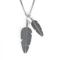 Feather Sterling Silver Men's Necklace