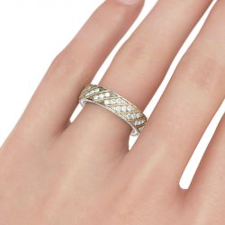Two Tone Diagonal Round Cut Sterling Silver Women's Wedding Band