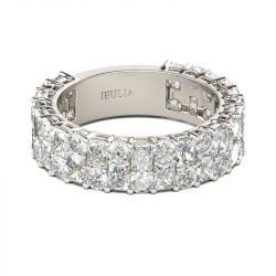 Jeulia Round Cut Sterling Silver Women's Band