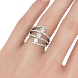 Jeulia Asymmetric Round Cut Sterling Silver Women's Band