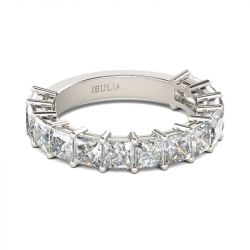Bar Setting Princess Cut Sterling Silver Women's Band