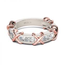 Jeulia Knot Princess Cut Sterling Silver Women's Band