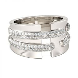Wide Round Cut Sterling Silver Women's Band