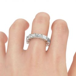 Simple Radiant Cut Sterling Silver Women's Band