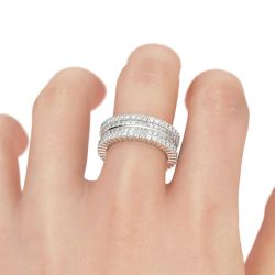 Pave Set Round Cut Sterling Silver Women's Band