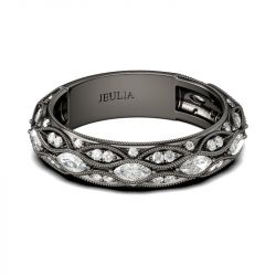 Jeulia Black Tone Marquise Cut Sterling Silver Women's Band