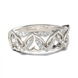 Interlocking Hearts Round Cut Sterling Silver Women's Band