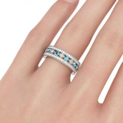 Jeulia Milgrain Round Cut Sterling Silver Women's Band