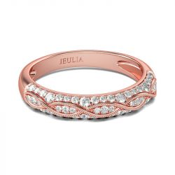 Jeulia Rose Gold Tone Milgrain Round Cut Sterling Silver Women's Band
