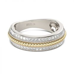 Jeulia Two Tone Cable Round Cut Sterling Silver Women's Band