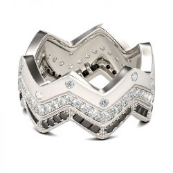 Chevron Round Cut Sterling Silver Women's Band
