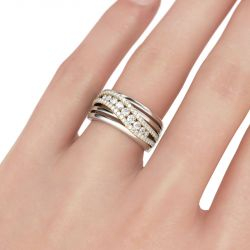 Two Tone Intertwined Sterling Silver Women's Band