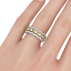 Milgrain Twist Round Cut Sterling Silver Women's Band