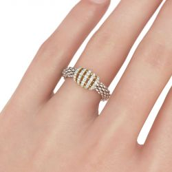 Two Tone Sterling Silver Women's Band
