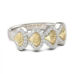 Two Tone Shell Design Sterling Silver Women's Band