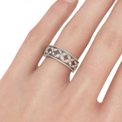 Jeulia Floral Design Round Cut Sterling Silver Women's Band