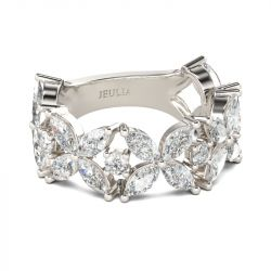 Jeulia Leaf Shape Marquise Cut Sterling Silver Women's Band