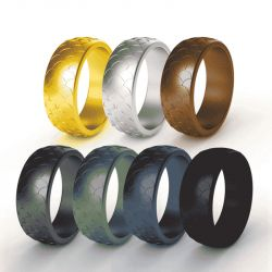 8.7mm Wide Fish Scales Men's Sports Silicone ring 7 Color Set