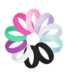 2.7 mm Wide Shiny Silicone Ring 10 Color Set