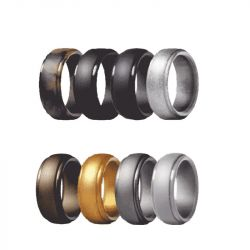 8.0 mm Wide Neutral Sports Silicone Ring 8 Color Set