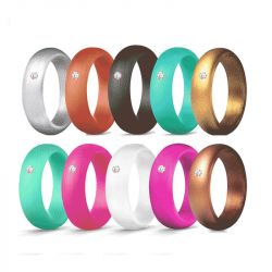 Round Cut Solitaire 5.7mm Wide Women's Silicone Ring 10 color Set
