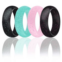 5.7mm Wide Pearlescent Glitter Silicone Ring 4 Color Set