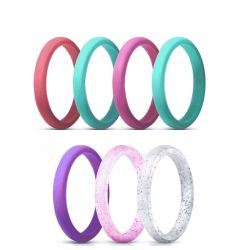 2.7mm Thin Pearlescent Glitter Silicone Ring 7 Color Set