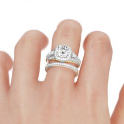 Two Tone Scrollwork Round Cut Sterling Silver Ring Set